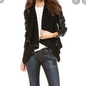 Blank NYC Black Faux Leather Drape Jacket
